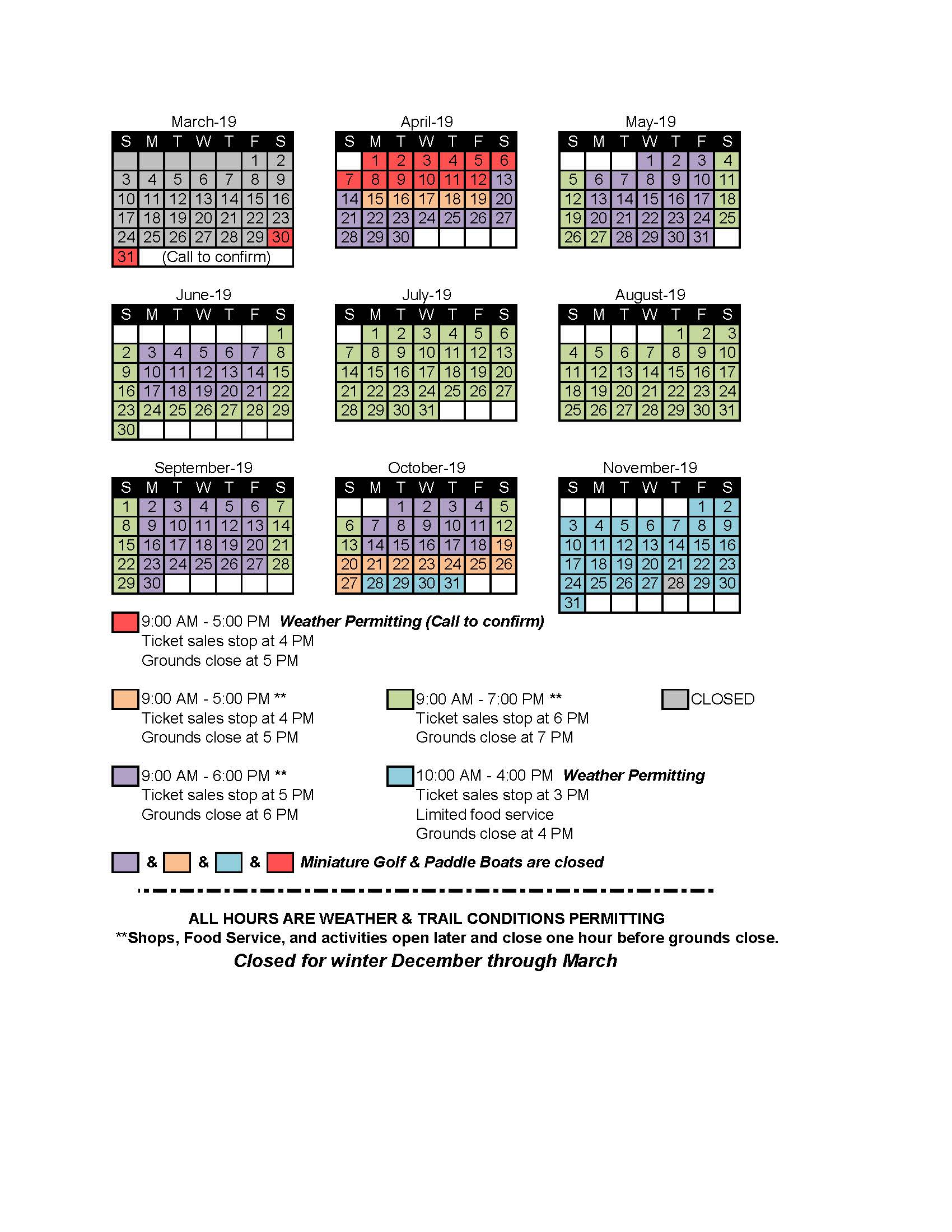 2019 Bushkill Falls Operating Schedule